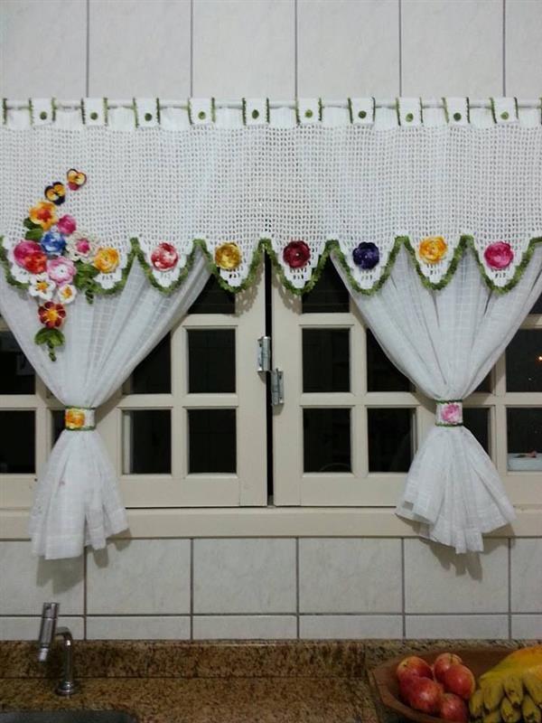 cortina flores de croche