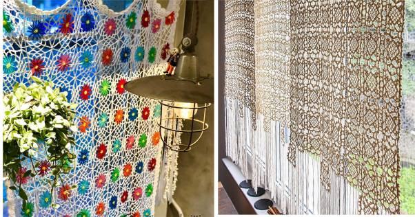 ideias de cortinas de croche modernas