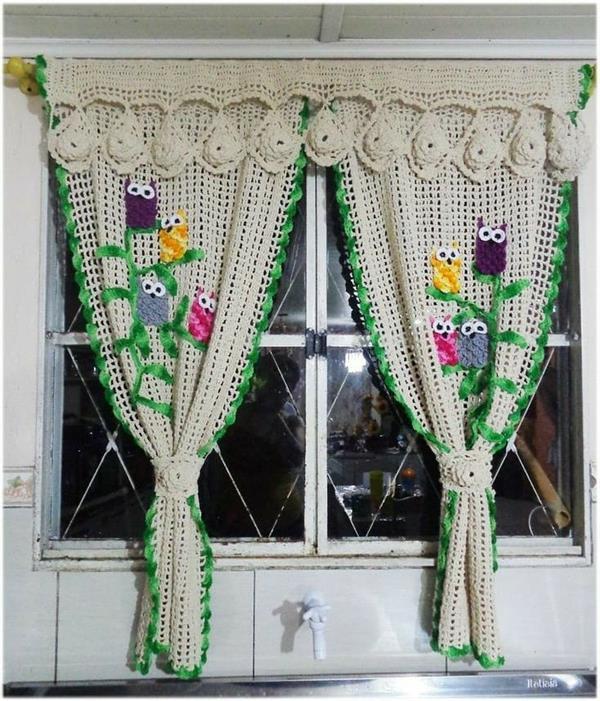 cortina de croche de corujinha