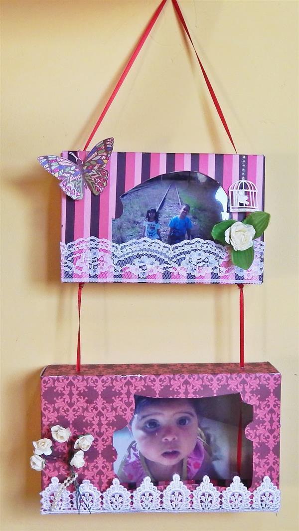 porta retrato de parede reciclando caixa de papelão