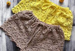 short de croche amarelo