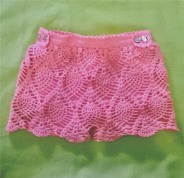 short de croche rosa