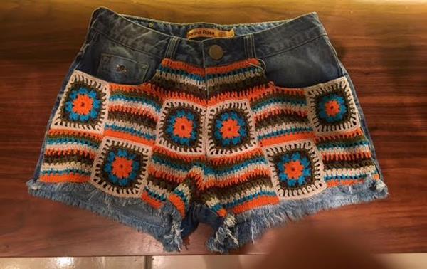 short jeans com croche