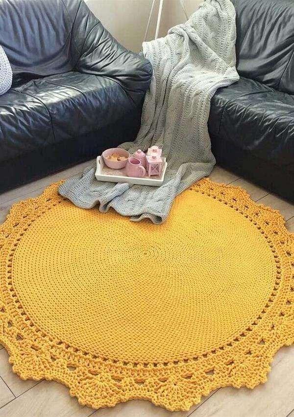 tapete-de-crochê-redondo-amarelo