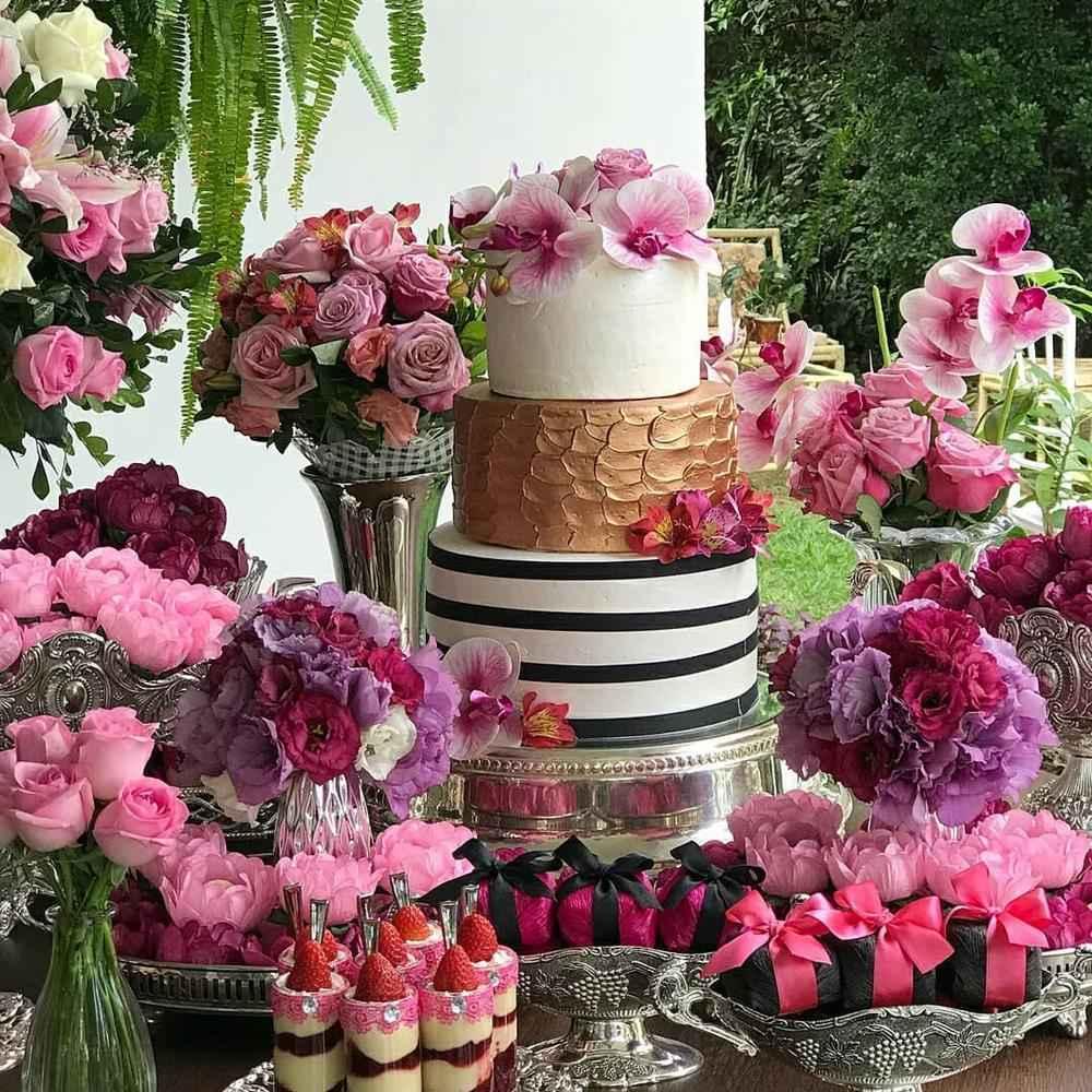 decoração com mix de flores