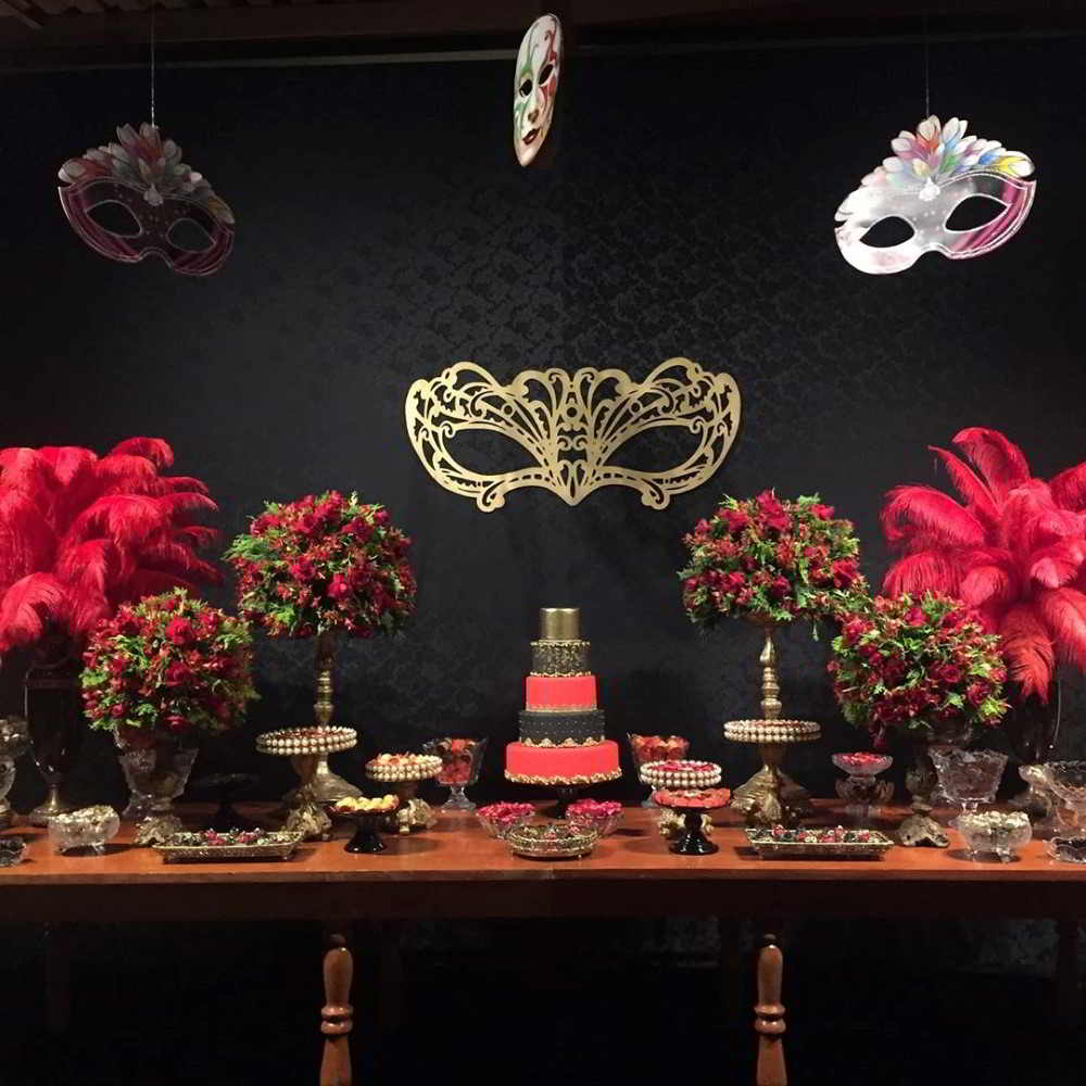 mesa de bolo festa de mascaras