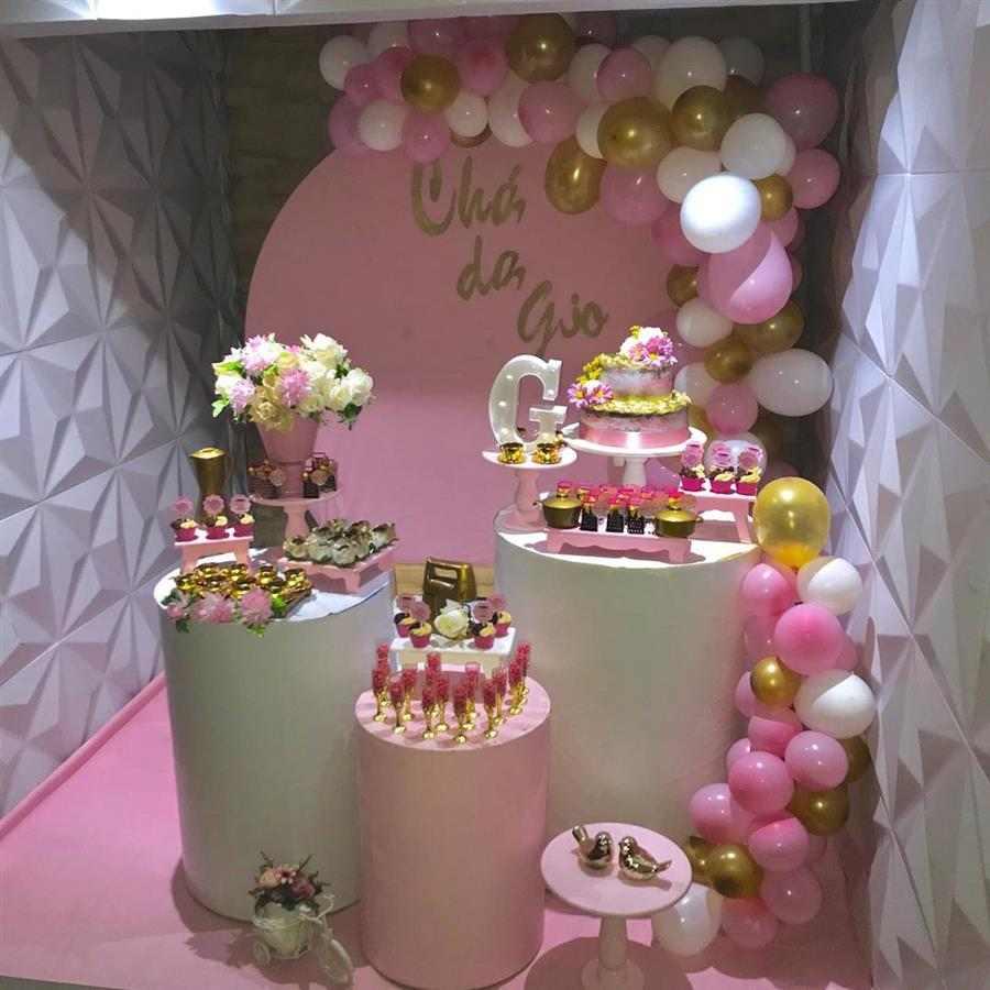 Festa adulto feminina rosa com dourado