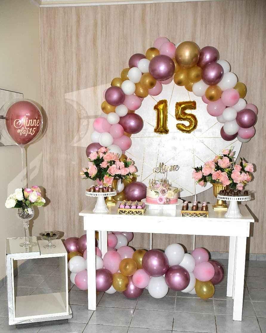 15 anos rosa e dourado