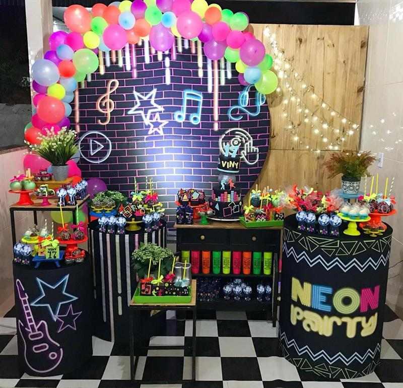 decoração party neon