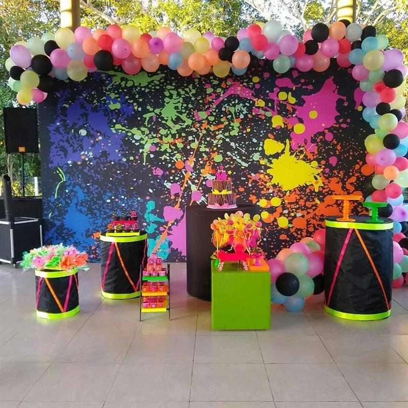 festa neon com cores