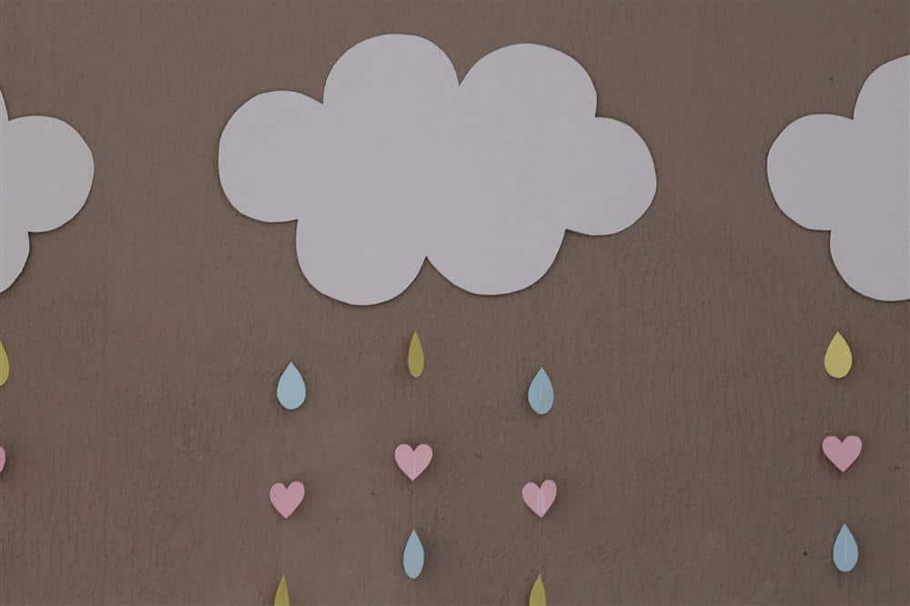 nuvem chuva de amor em papel