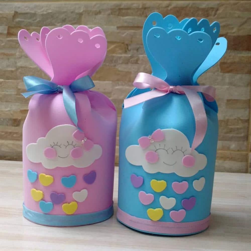 potinho de eva decorado chuva de amor)
