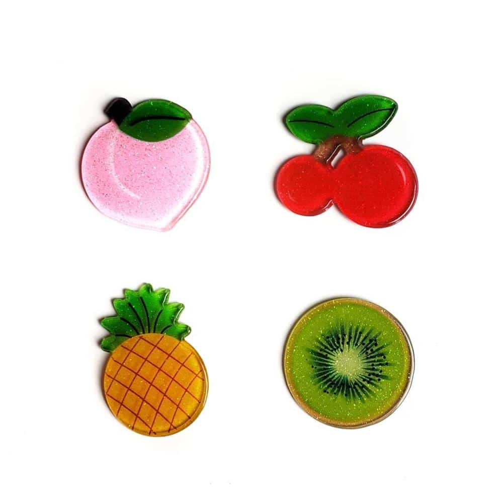 aplique em acrilico de frutas