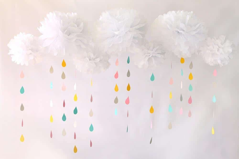 decoração chuva de amor com papel