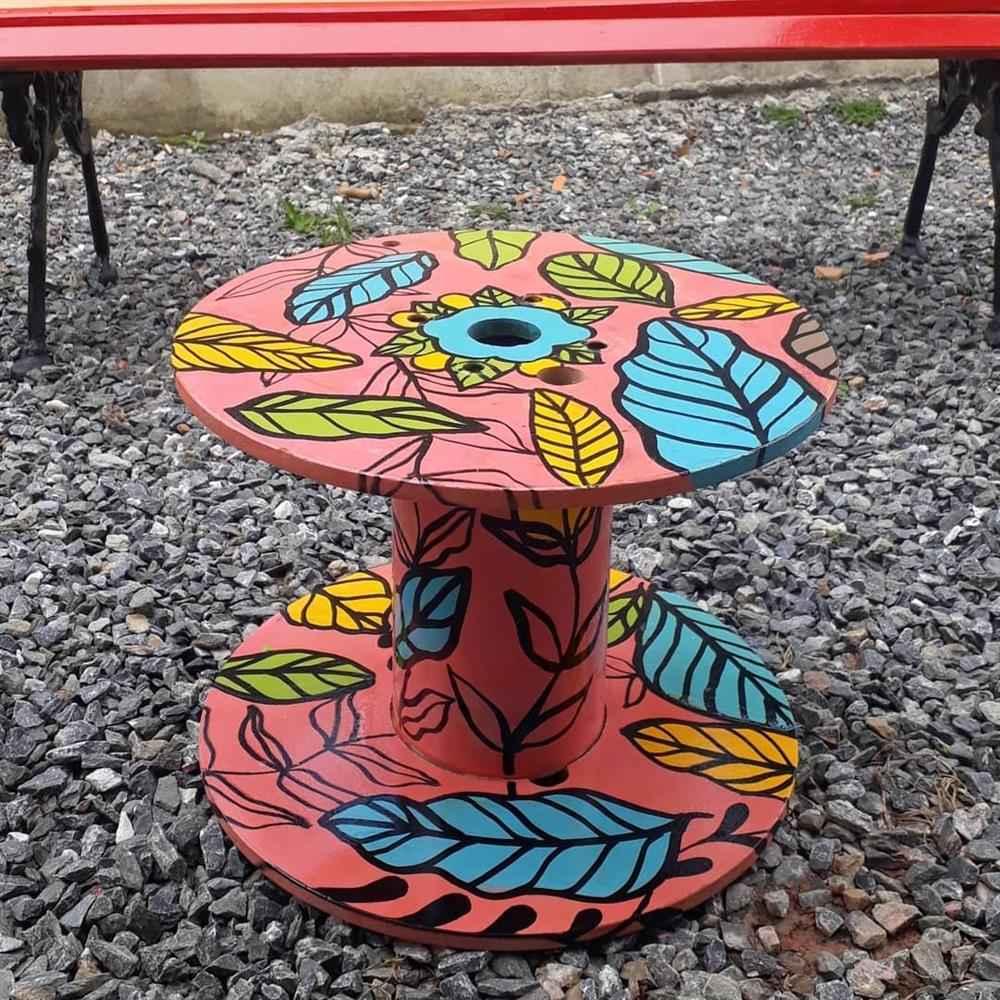 carretel de madeira decorado)