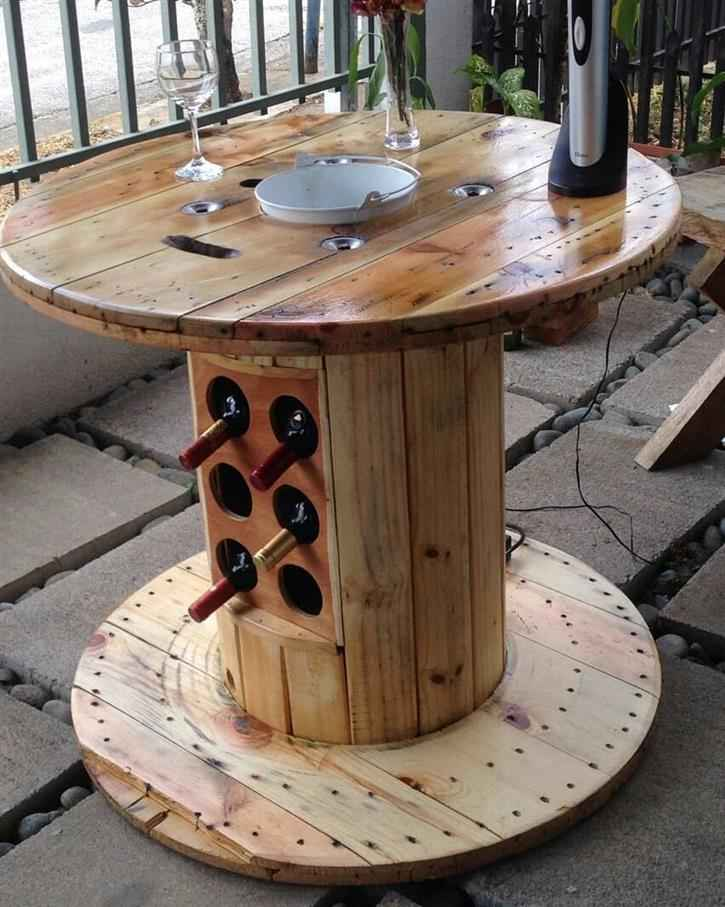 mesa para bebidas de carretel