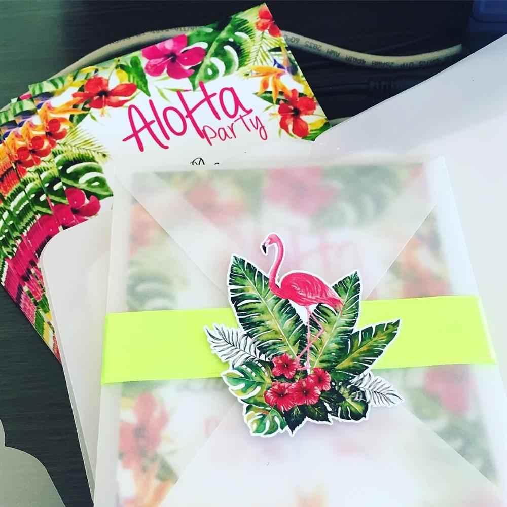 convite em papel de seda tropical