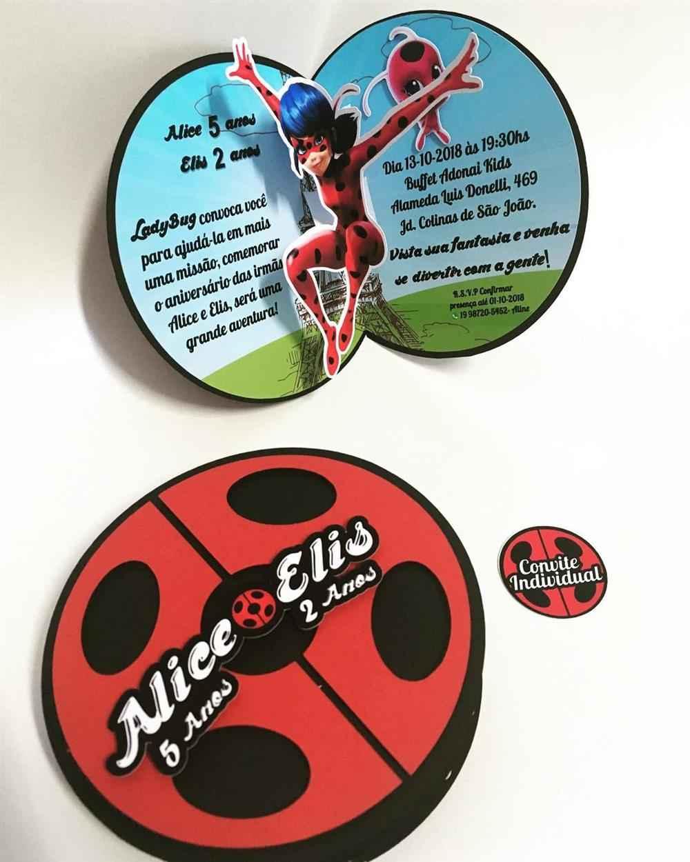 convite ladybug joaninha