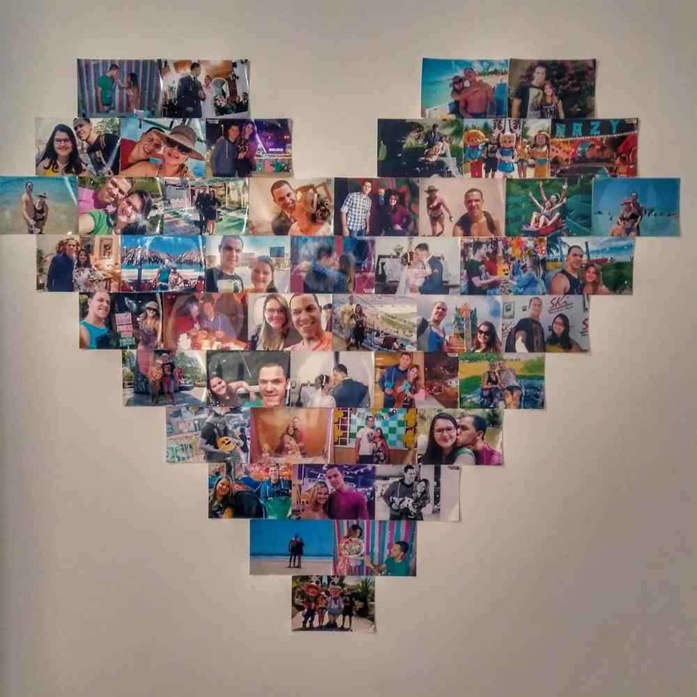 mural de coração com fotos)