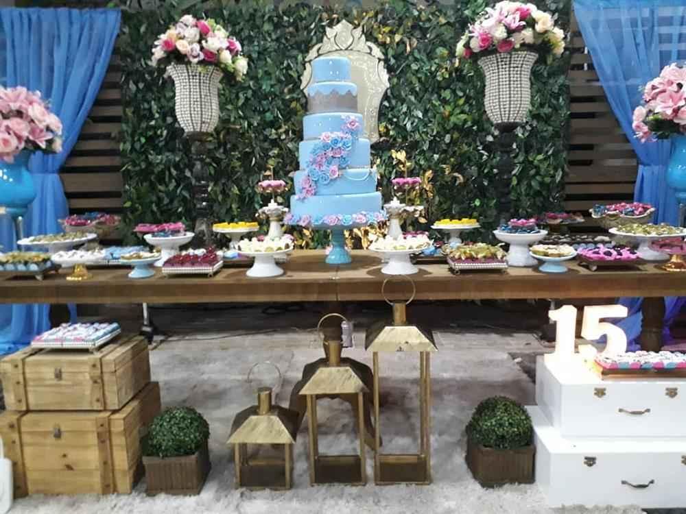festa 15 anos com mesa rustica