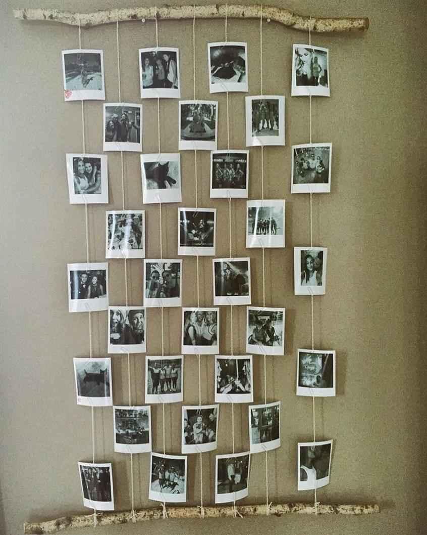 fotos com mural de madeira