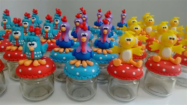 galinha-pintadinha-galo-e-pintinho pote de vidro