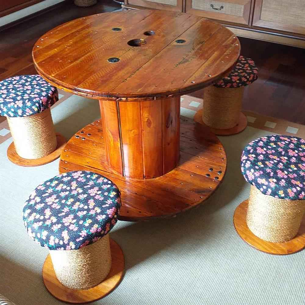 artesanato carretel de madeira