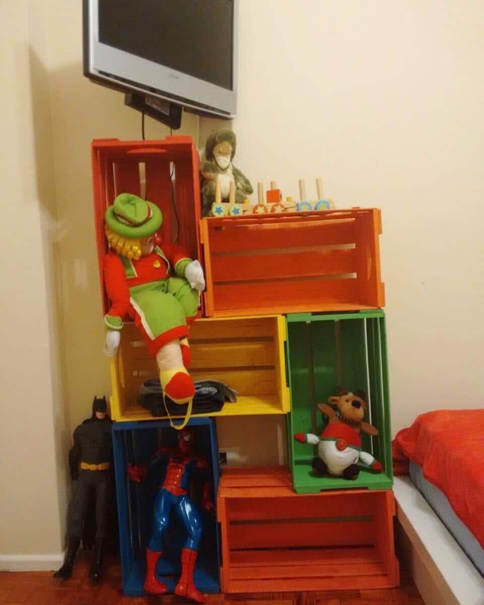 estante de caixote para quarto infantil