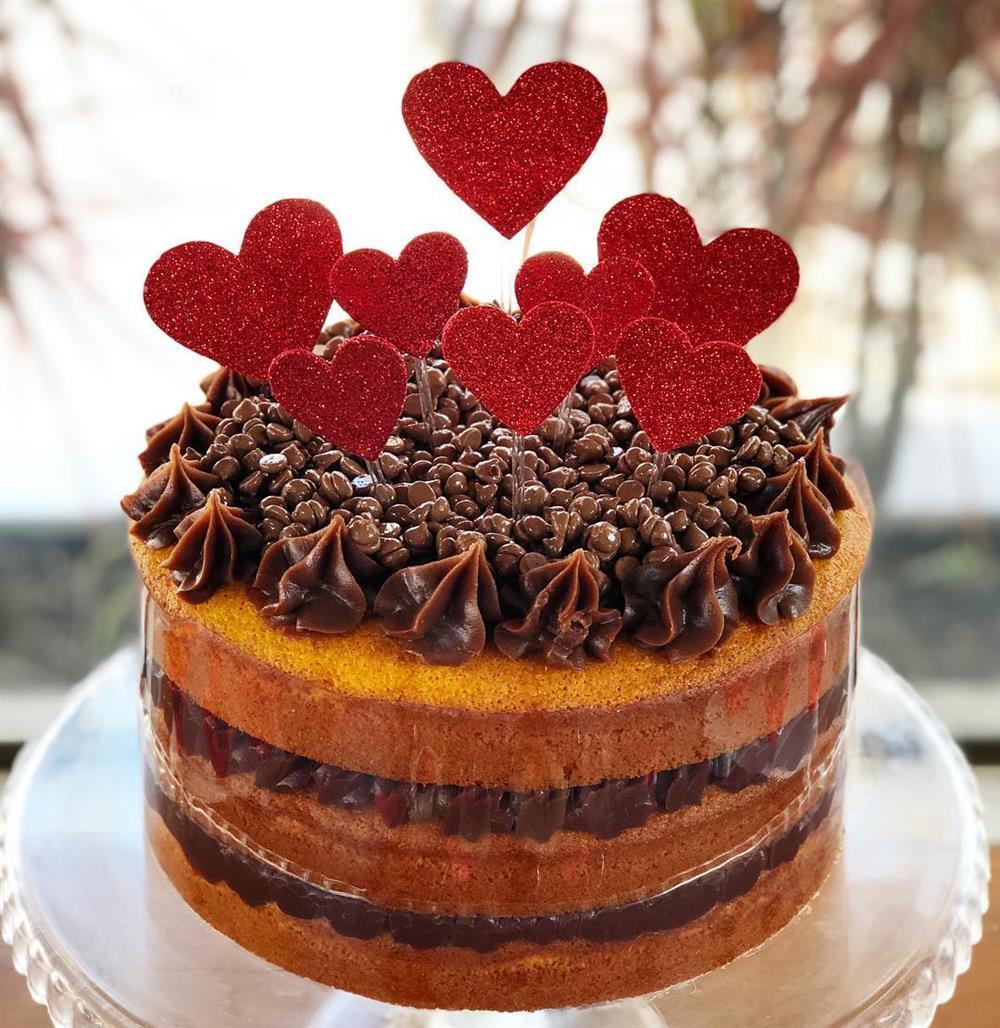 bolo com corações