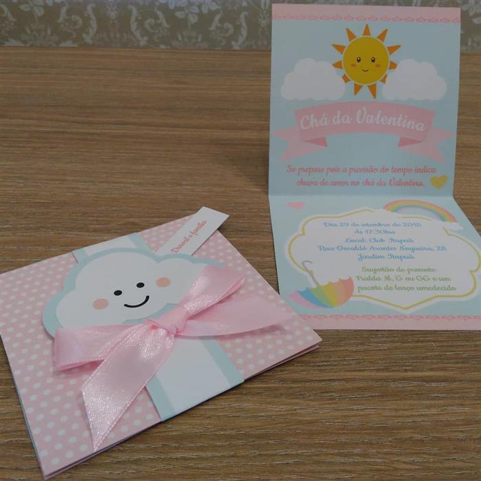 convite rosa bebe