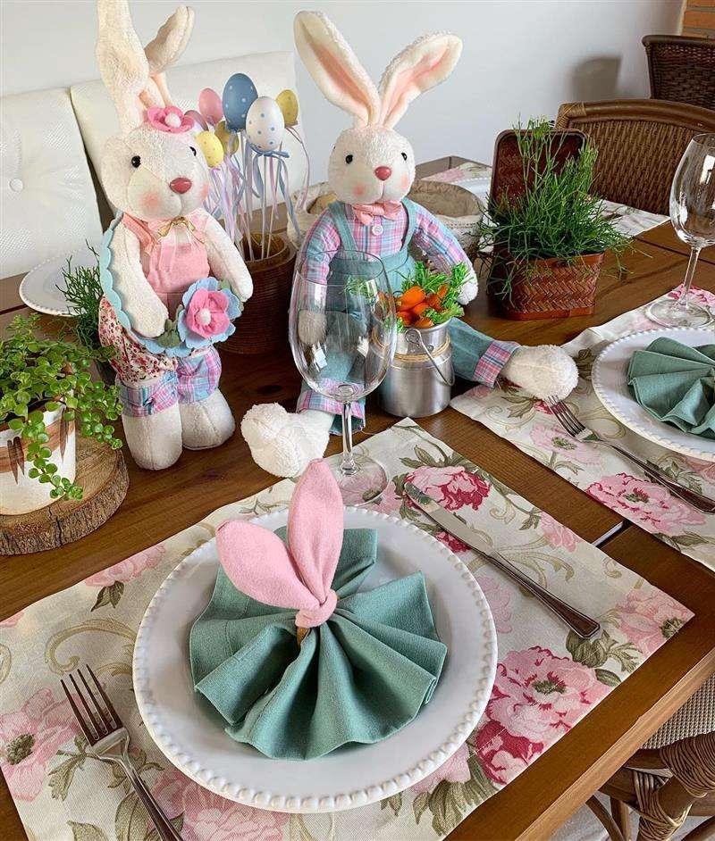 decoração de mesa posta para pascoa