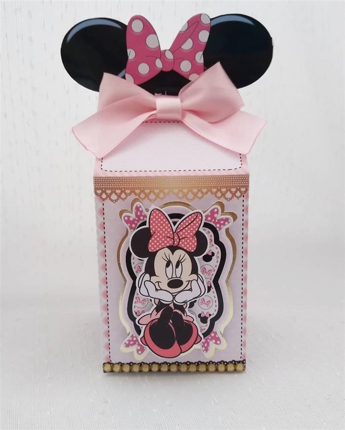 Caixa milk da Minnie rosa com orelhas