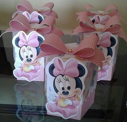 Caixinha da Minnie baby rosa decorada