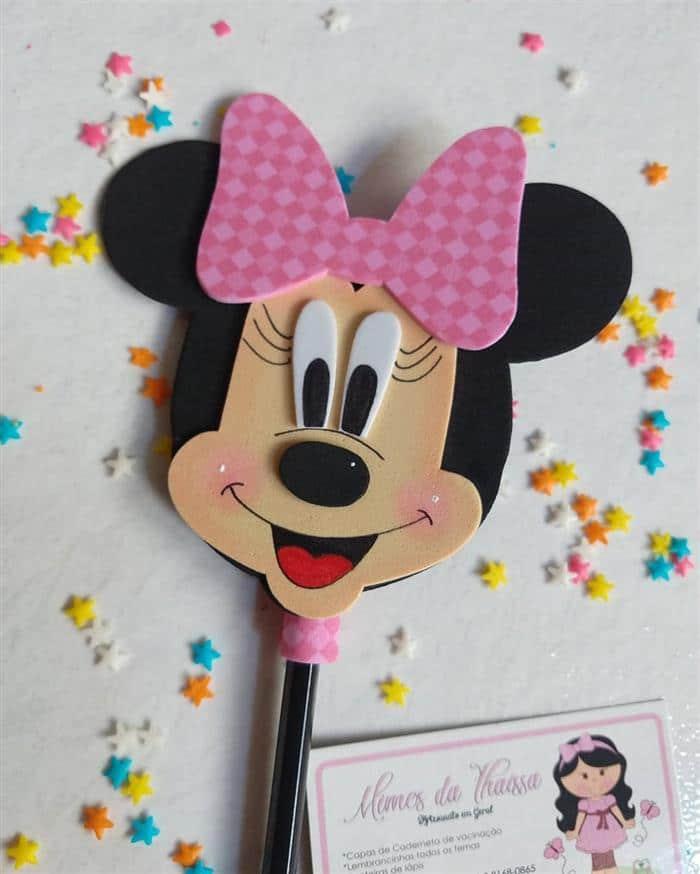 Lápis com ponteira de Minnie Rosa