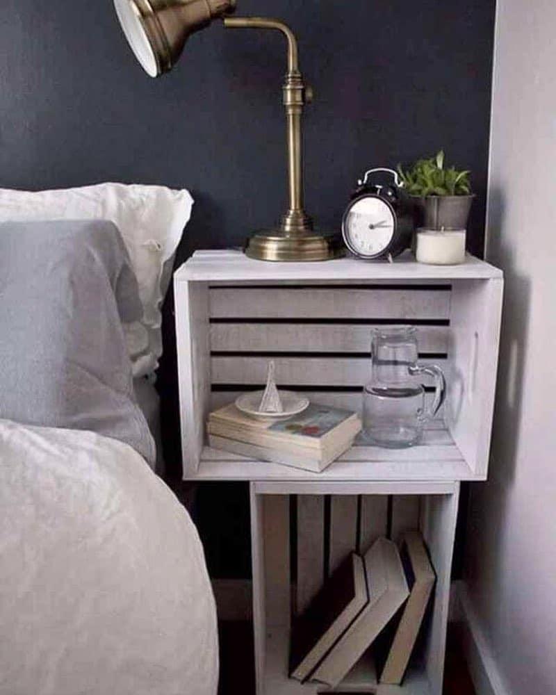 caixotes na decoração do quarto
