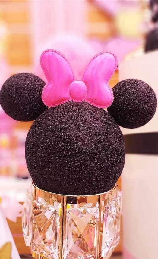 Centro de mesa luxo com a cabeça da Minnie
