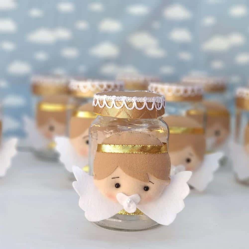 potinho de batizado decorado