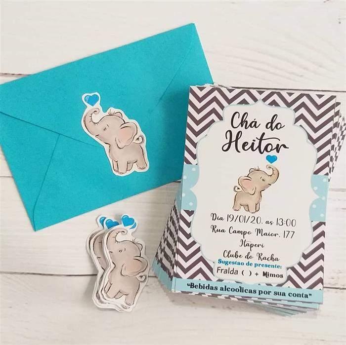 convite simples para cha de bebe