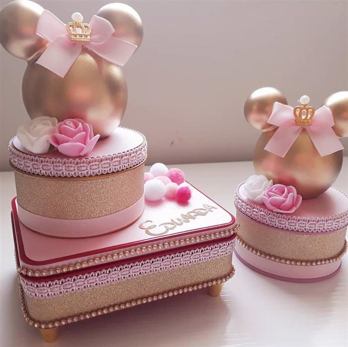 Lembrancinha de luxo da Minnie rosa Princesa