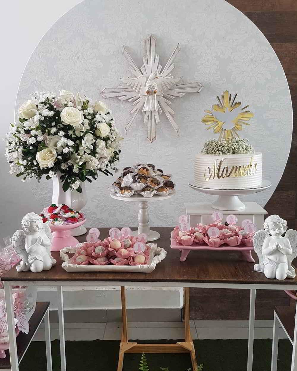 decoração de batizado com anjos