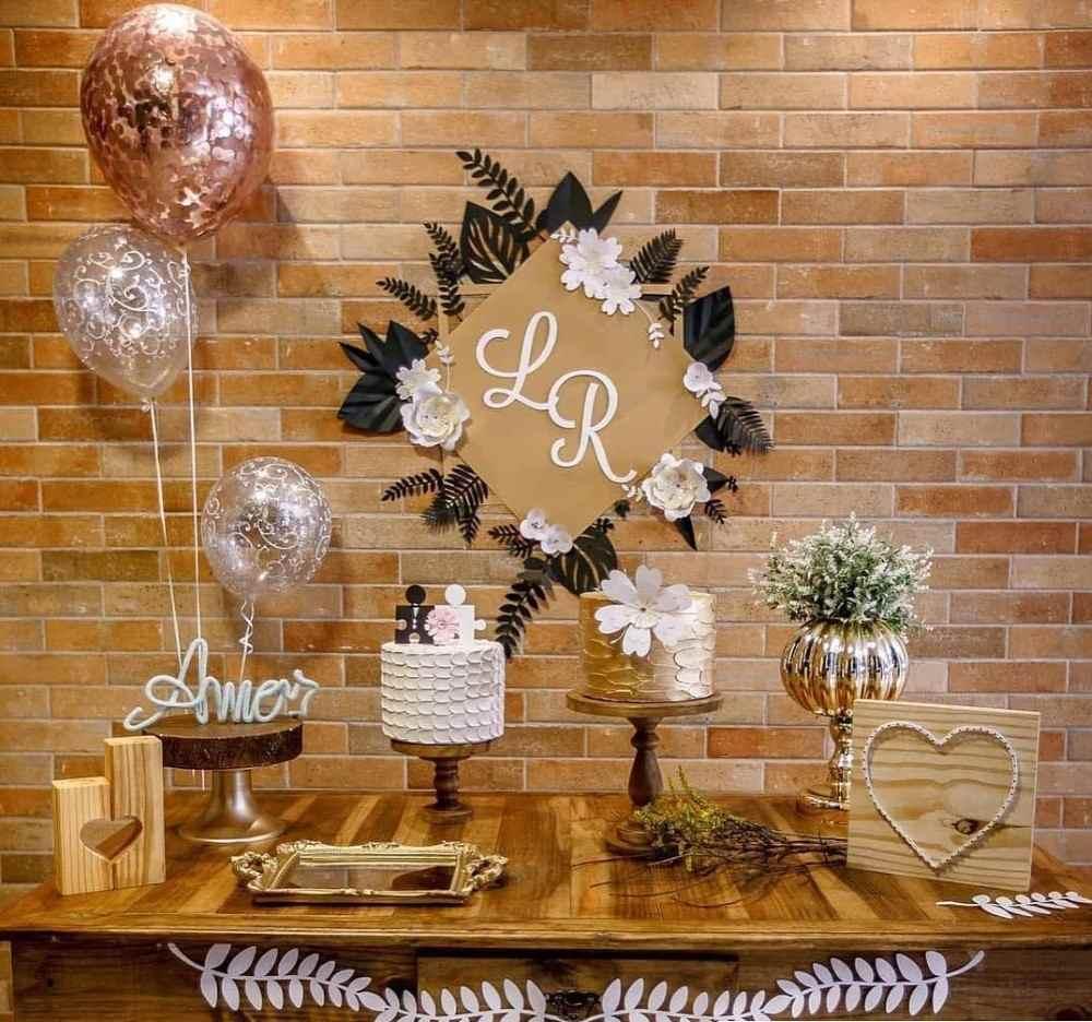 festa de noivado chique e simples