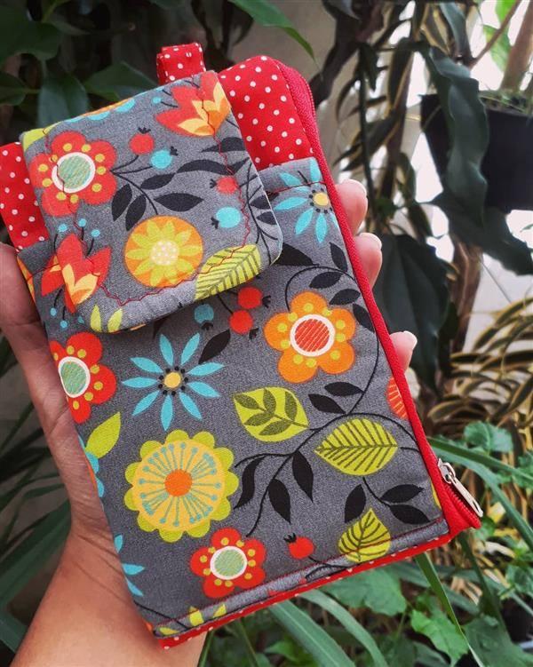 bolsinha de celular feita com pachtwork