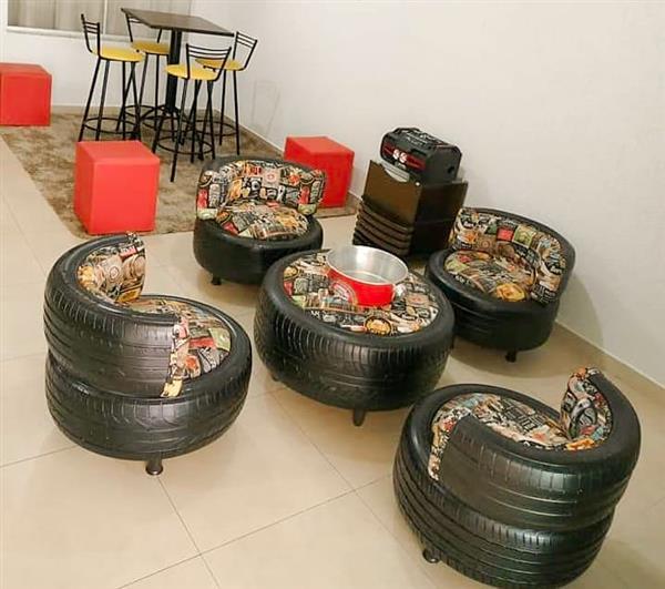 decorando a sala com pneu