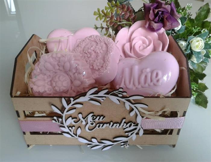 cesta de sabonete para dia das mães