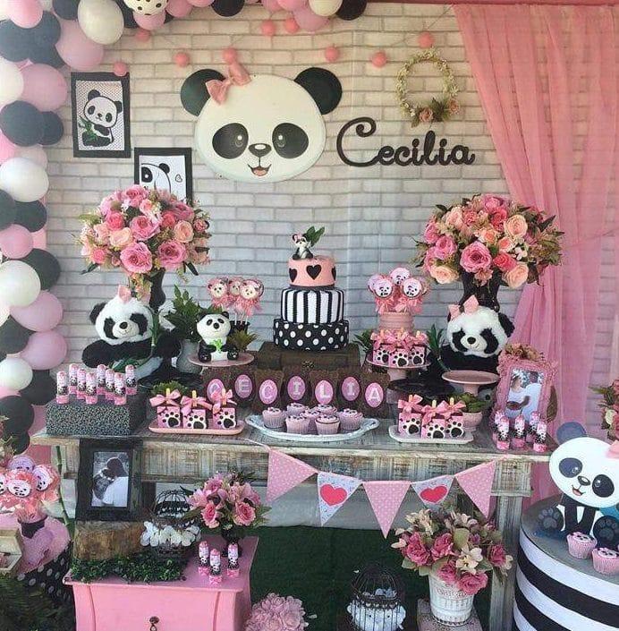chá de fraldas panda rosa