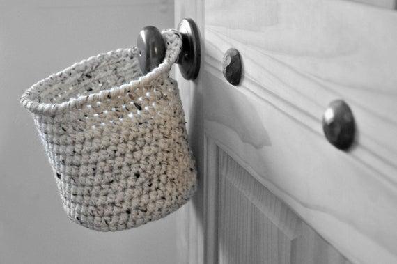 cesta de croche para papel higienico