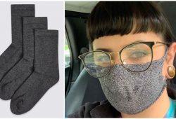 mascara de proteção feita com meia