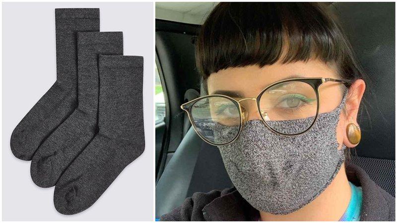 como fazer mascara com meia velha