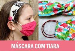 mascara com faixa de cabelo infantil com molde