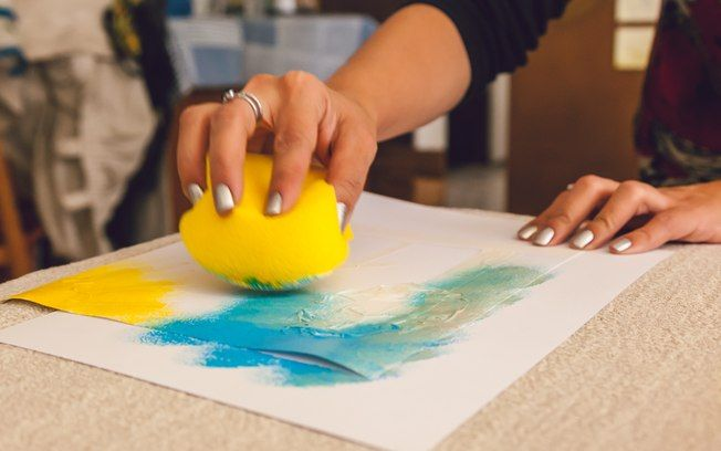 pintura com esponja